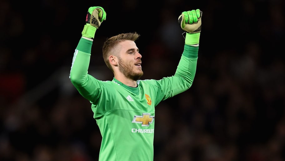MANCHESTER, ENGLAND - APRIL 20:  David De Gea of Manchester United celebrates after his side scored their second goal during the Barclays Premier League match between Manchester United and Crystal Palace at Old Trafford on April 20, 2016 in Manchester, England.  (Photo by Laurence Griffiths/Getty Images)