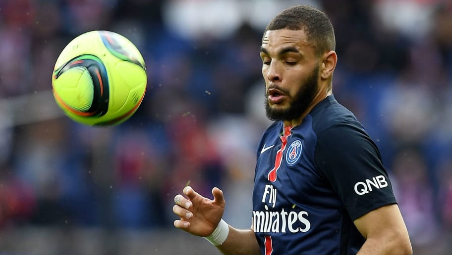 Paris Saint-Germain's French defender Layvin Kurzawa looks at the ball during the French L1 football match between Paris Saint-Germain and Caen at the Parc des Princes stadium in Paris on April 16, 2016. / AFP / FRANCK FIFE        (Photo credit should read FRANCK FIFE/AFP/Getty Images)