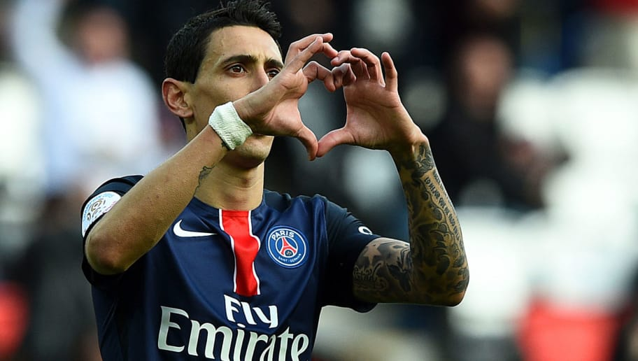 Paris Saint-Germain's Argentinian forward Angel Di Maria celebrates after scoring a goal during the French L1 football match between Paris Saint-Germain and Caen at the Parc des Princes stadium in Paris on April 16, 2016.  / AFP / FRANCK FIFE        (Photo credit should read FRANCK FIFE/AFP/Getty Images)