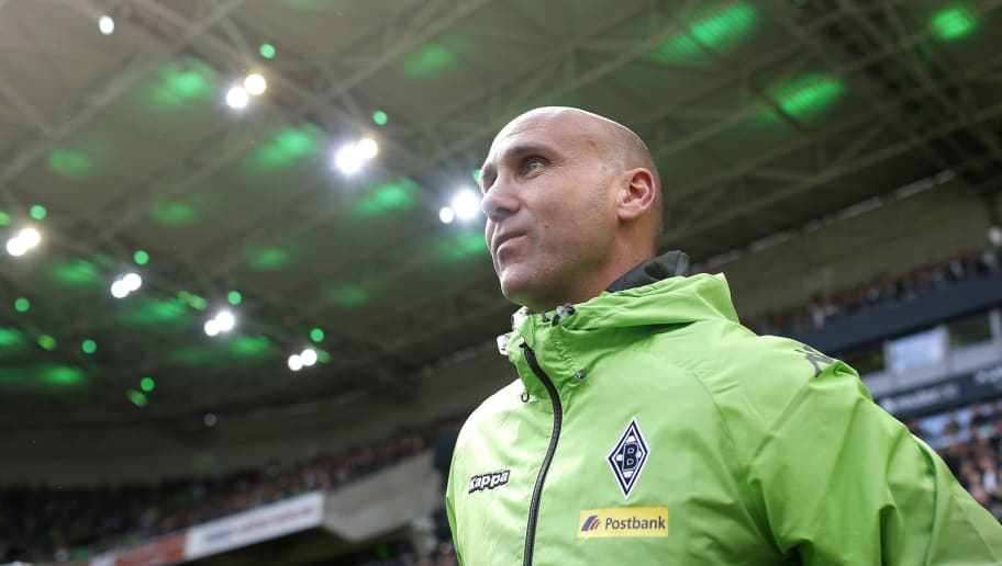 MOENCHENGLADBACH, GERMANY - APRIL 24:  Head coach Andre Schubert of Moenchengladbach looks on during the Bundesliga match between Borussia Moenchengladbach and TSG 1899 Hoffenheim on April 24, 2016 in Moenchengladbach, Germany. (Photo by Mika Volkmann/Bongarts/Getty Images)