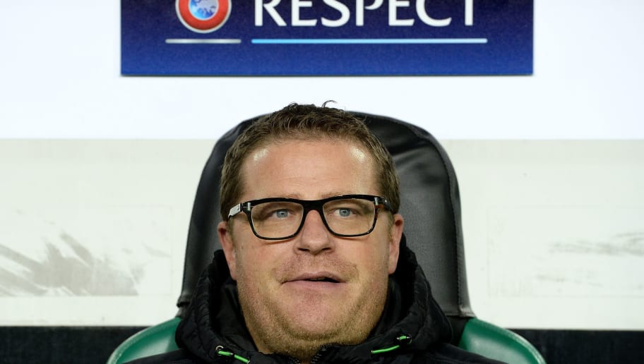 MOENCHENGLADBACH, GERMANY - NOVEMBER 03:  Director of sport Max Eberl of Moenchengladbach looks on prior to  the UEFA Champions League group stage match between VfL Borussia Monchengladbach and Juventus FC on November 3, 2015 in Moenchengladbach, Germany.  (Photo by Sascha Steinbach/Bongarts/Getty Images)