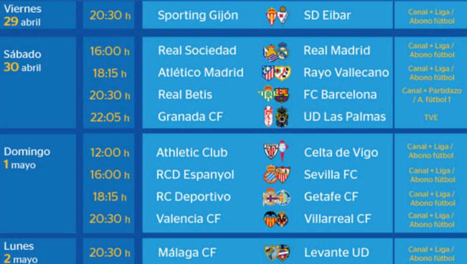 Todos los partidos y horarios de la jornada 36 de la Liga ...