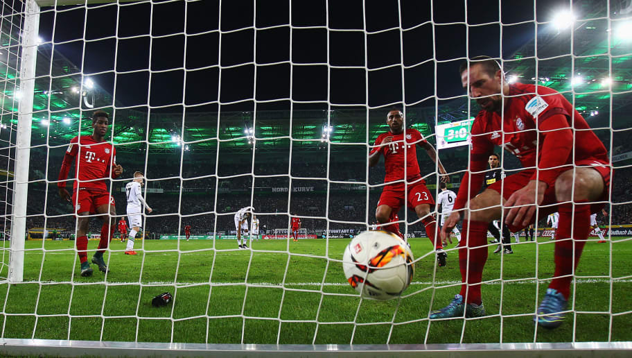 MOENCHENGLADBACH, GERMANY - DECEMBER 05: Franck Ribery of Muenchen takes the ball after scoring his team's first goal during the Bundesliga match between Borussia Moenchengladbach and FC Bayern Muenchen at Borussia-Park on December 5, 2015 in Moenchengladbach, Germany.  (Photo by Alex Grimm/Bongarts/Getty Images)
