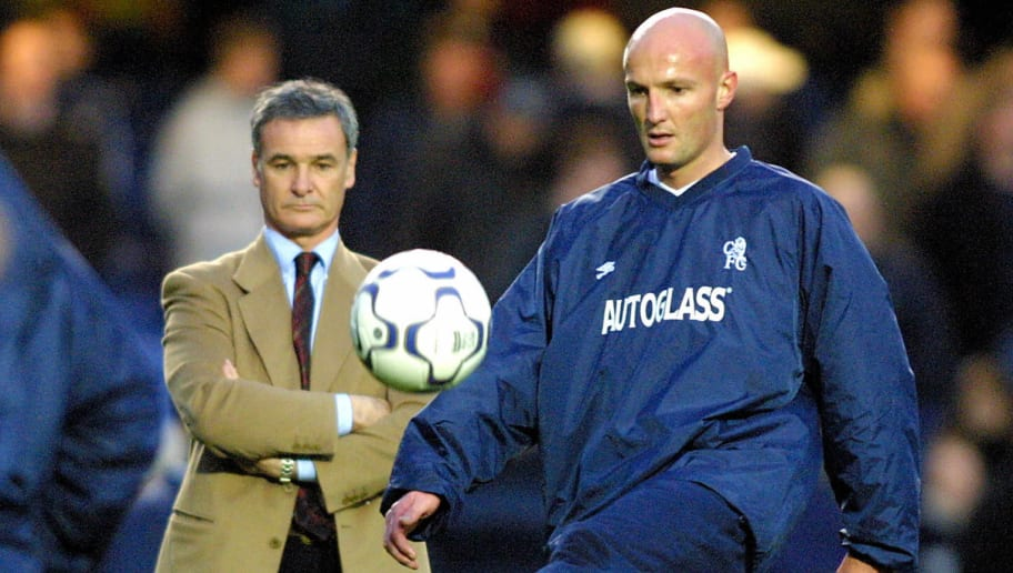 London, UNITED KINGDOM:  (FILES) Chelsea`s French player Frank Leboeuf (R) warms up watched by coach, Italian Claudio Ranieri before a premier league match against Manchester City at Stamford bridge in London, 03 December 2000.  Franck Leboeuf, a 1998 France World Cup winner, has announced 07 June 2005 his retirement at the age of 37.  'I'm finishing, there's no point in making a song and dance about it,' said the former Chelsea defender who spent his last two seasons in Qatar. Leboeuf, capped 50 times by France, played for Strasbourg, Chelsea and Marseille. AFP PHOTO:Odd ANDERSEN  (Photo credit should read ODD ANDERSEN/AFP/Getty Images)