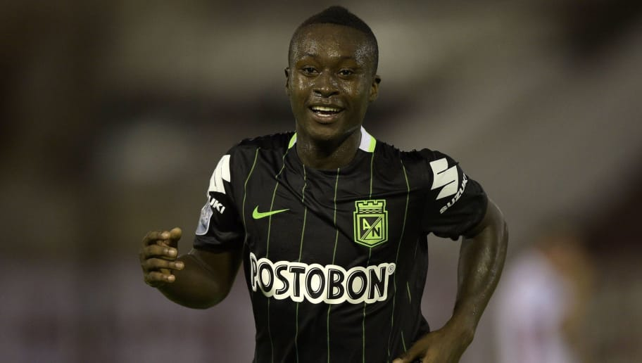 Colombia's Atletico Nacional forward Marlos Moreno celebrates after scoring a goal against Argentina's Huracan during the Copa Libertadores 2016 group 4 football match at Tomas Duco stadium in Buenos Aires, Argentina, on February 23, 2016. AFP PHOTO / JUAN MABROMATA / AFP / JUAN MABROMATA        (Photo credit should read JUAN MABROMATA/AFP/Getty Images)
