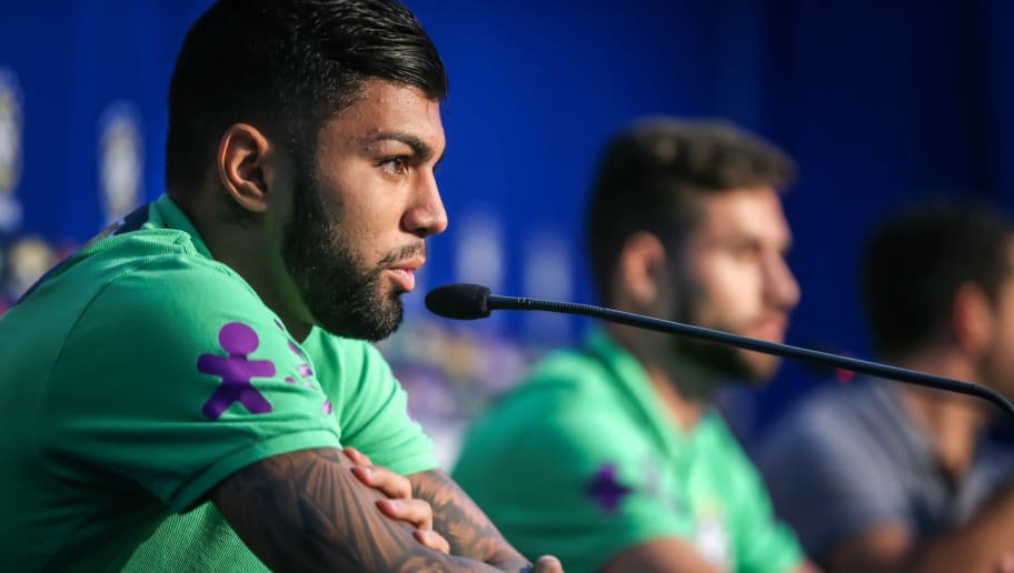 Brazil's football team players Gabigol (L) and Felipe during a press conference before a training at their hotel in Viamao, Brazil, on March 27, 2016. Brazil will face Paraguay on March 29 in a FIFA World Cup Russia 2018 South American qualifier. AFP PHOTO/Jefferson BERNARDES / AFP / JEFFERSON BERNARDES        (Photo credit should read JEFFERSON BERNARDES/AFP/Getty Images)