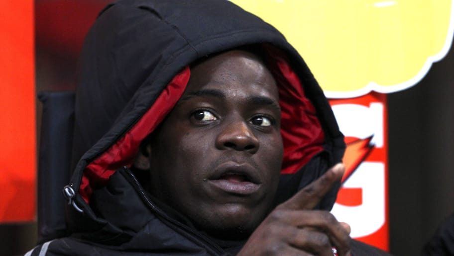 MILAN, ITALY - JANUARY 13:  Mario Balotelli of AC Milan looks on before the TIM Cup match between AC Milan and Carpi FC at Stadio Giuseppe Meazza on January 13, 2016 in Milan, Italy.  (Photo by Marco Luzzani/Getty Images)