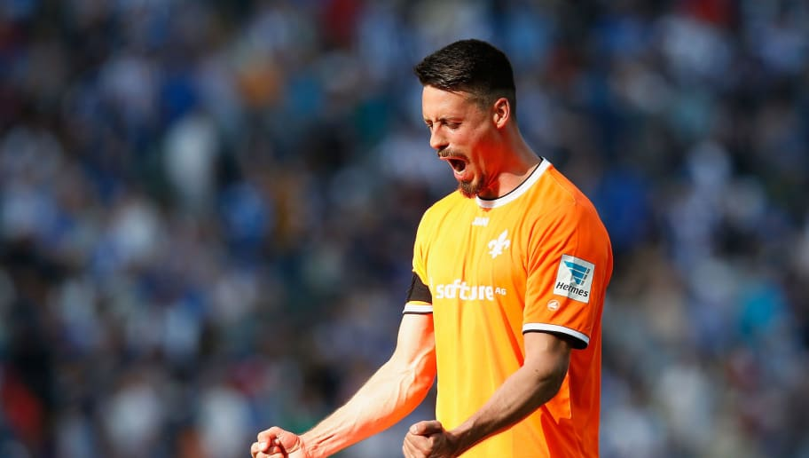 BERLIN, GERMANY - MAY 07:  Sandro Wagner of Darmstadt celebrates after winning the Bundesliga match between Hertha BSC and SV Darmstadt 98 at Olympiastadion on May 07, 2016 in Berlin, Berlin.  (Photo by Boris Streubel/Bongarts/Getty Images)