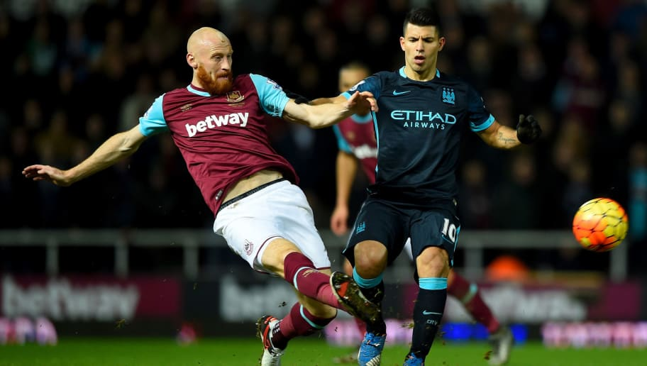 LONDON, ENGLAND - JANUARY 23:  Sergio Aguero of Manchester City battles for the ball with James Collins of West Ham United during the Barclays Premier League match between West Ham United and Manchester City at the Boleyn Ground on January 23, 2016 in London, England.  (Photo by Mike Hewitt/Getty Images)