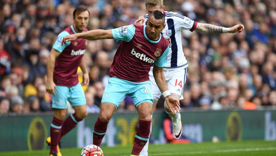 WEST BROMWICH, ENGLAND - APRIL 30:  Dimitri Payet of West Ham United and James McClean of West Bromwich Albion compete for the ball during the Barclays Premier League match between West Bromwich Albion and West Ham United at The Hawthorns on April 30, 2016 in West Bromwich, England.  (Photo by Shaun Botterill/Getty Images)