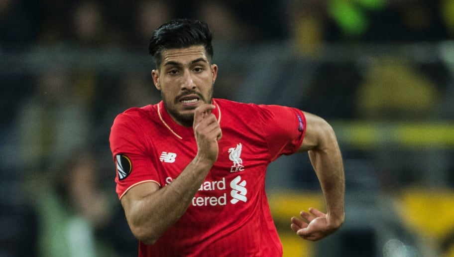 Liverpool's German midfielder Emre Can runs with the ball during the UEFA Europe League quarter-final, first-leg football match Borussia Dortmund vs Liverpool FC in Dortmund, western Germany on April 7, 2016. The match ended with a 1-1 draw. / AFP / ODD ANDERSEN        (Photo credit should read ODD ANDERSEN/AFP/Getty Images)