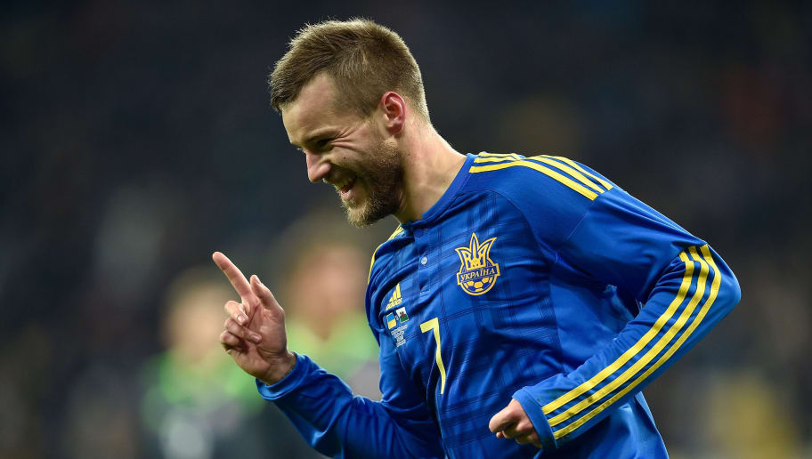 KIEV, UKRAINE - MARCH 28:  Andriy Yarmolenko of Ukraine celebrates as he scores the opening goal during the International Friendly match between Ukraine and Wales at NSK Olimpijskyj on March 28, 2016 in Kiev, Ukraine.  (Photo by Dennis Grombkowski/Getty Images)