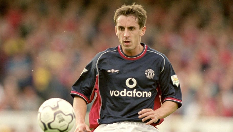 dbec7349279 1 Oct 2000: Gary Neville of Manchester United controls the ball during the  FA Carling