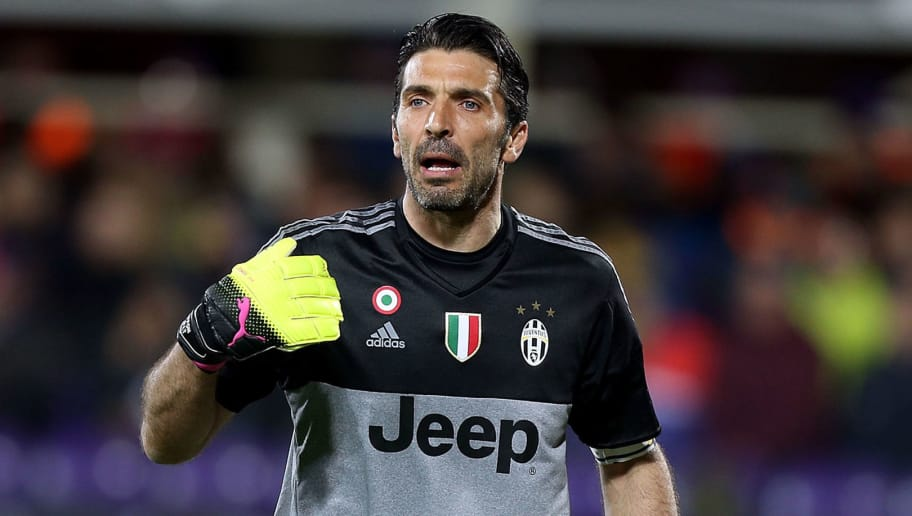 a2c68697f FLORENCE, ITALY - APRIL 24: Gianluigi Buffon of Juventus FC gestures during  the Serie