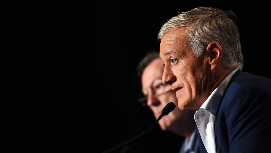 France's football team head coach Didier Deschamps answers journalists' questions after taking part in the broadcast news of French TV channel TF1 in Boulogne-Billancourt, outside Paris, on May 12, 2016.  France coach Didier Deschamps named his 23-man squad for Euro 2016 today, with both Mathieu Valbuena and Hatem Ben Arfa missing the cut. / AFP / FRANCK FIFE        (Photo credit should read FRANCK FIFE/AFP/Getty Images)