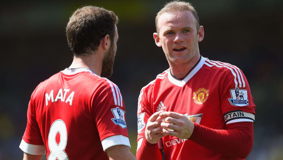 NORWICH, ENGLAND - MAY 07:  Wayne Rooney of Manchester United talks to Juan Mata during the Barclays Premier League match between Norwich City and Manchester United at Carrow Road on May 07, 2016 in Norwich, England.  (Photo by Mike Hewitt/Getty Images)