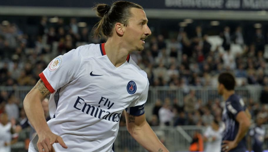 Paris Saint-Germain's Swedish forward Zlatan Ibrahimovic  celebrates after scoring a goal  during  the French L1 football  match between Bordeaux and Paris (PSG) on May 11, 2016 at the Matmut Atlantique stadium in Bordeaux, southwestern France. AFP PHOTO / GEORGES GOBET / AFP / GEORGES GOBET        (Photo credit should read GEORGES GOBET/AFP/Getty Images)