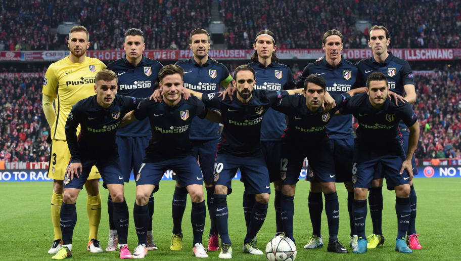 (Top row, from L) Atletico Madrid's Slovenian goalkeeper Jan Oblak, Atletico Madrid's Uruguayan defender Jose Maria Gimenez, Atletico Madrid's midfielder Gabi, Atletico Madrid's Brazilian defender Filipe Luis, Atletico Madrid's midfielder Koke and Atletico Madrid's Uruguayan defender Diego Godin (bottom row, from L) Atletico Madrid's French forward Antoine Griezmann, Atletico Madrid's midfielder Saul Niguez, Atletico Madrid's defender Juanfran, Atletico Madrid's Argentinian midfielder Augusto Fernandez and Atletico Madrid's midfielder Koke pose for the team photo prior to the UEFA Champions League semi-final, second-leg football match between FC Bayern Munich and Atletico Madrid in Munich, southern Germany, on May 3, 2016. / AFP / CHRISTOF STACHE        (Photo credit should read CHRISTOF STACHE/AFP/Getty Images)
