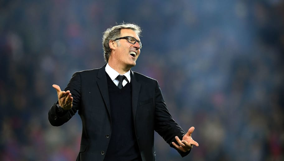 Paris Saint-Germain's French head coach Laurent Blanc reacts at the end of the French L1 football match between Paris Saint-Germain and Nantes at the Parc des Princes stadium in Paris on May 14, 2016.   / AFP / FRANCK FIFE        (Photo credit should read FRANCK FIFE/AFP/Getty Images)