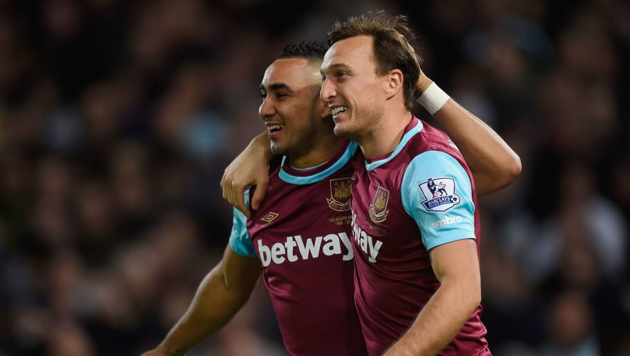LONDON, ENGLAND - APRIL 20:  Mark Noble of West Ham United celebrates with Dimitri Payet of West Ham United scoring his second goal during the Barclays Premier League match between West Ham United and Watford at the Boleyn Ground, April 20, 2016, London, England  (Photo by Mike Hewitt/Getty Images)