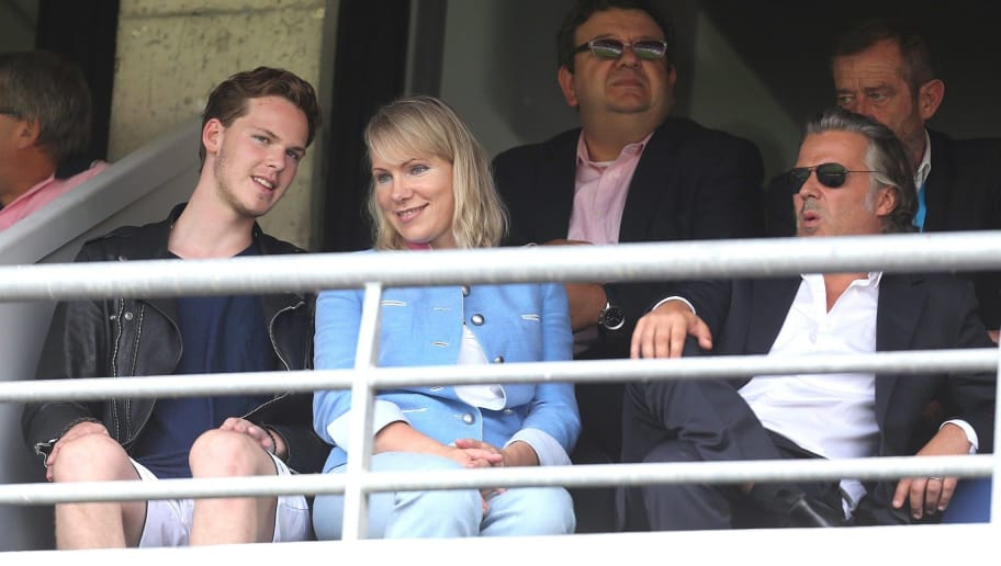 Marseille's President Vincent Labrune (R) and club owner Russian Margarita Louis-Dreyfus (2nd L) watch the Ligue 1 football match between Reims and Marseille on August 16, 2015 at the Auguste Delaune Stadium in Reims. AFP PHOTO / FRANCOIS NASCIMBENI        (Photo credit should read FRANCOIS NASCIMBENI/AFP/Getty Images)