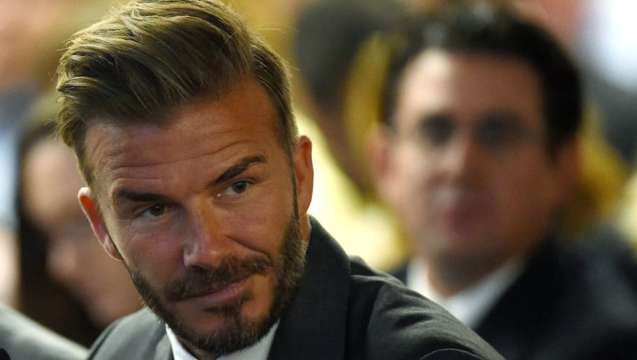 LAS VEGAS, NV - APRIL 28:  Former soccer player David Beckham looks on during a Southern Nevada Tourism Infrastructure Committee meeting with Oakland Raiders owner Mark Davis (not pictured) at UNLV on April 28, 2016 in Las Vegas, Nevada. Davis told the committee he is willing to spend USD 500 million as part of a deal to move the team to Las Vegas if a proposed USD 1.3 billion, 65,000-seat domed stadium is built by casino magnate Sheldon Adelson's Las Vegas Sands Corp. and real estate agency Majestic Realty, possibly on a vacant 42-acre lot a few blocks east of the Las Vegas Strip recently purchased by UNLV.  (Photo by Ethan Miller/Getty Images)