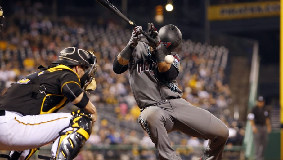 PITTSBURGH, PA - MAY 24:  Jean Segura #2 of the Arizona Diamondbacks is hit by a pitch in the seventh inning during the game against the Pittsburgh Pirates at PNC Park on May 24, 2016 in Pittsburgh, Pennsylvania.  (Photo by Justin K. Aller/Getty Images)