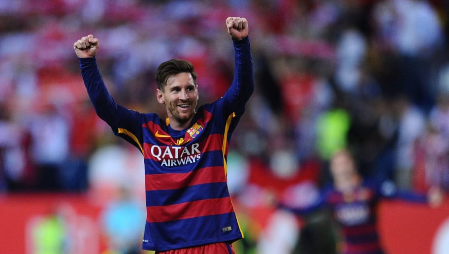 MADRID, SPAIN - MAY 22:  Lionel Messi of FC Barcelona celebrates after his team beat Sevilla 2-0 in the Copa del Rey Final between Barcelona and Sevilla at Vicente Calderon Stadium    on May 22, 2016 in Madrid, Spain.  (Photo by Denis Doyle/Getty Images)