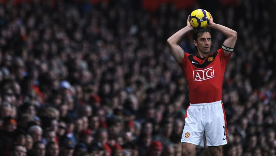 MANCHESTER, ENGLAND - JANUARY 16: Gary Neville of Manchester United in action during the Barclays Premier League Match between Manchester United and Burnley at Old Trafford on January 16, 2010 in Manchester, England.  (Photo by Laurence Griffiths/Getty Images)