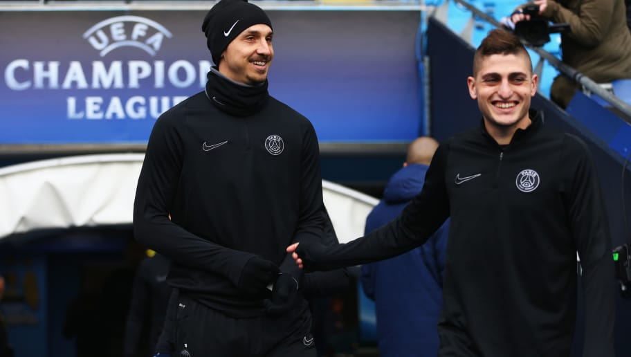 MANCHESTER, ENGLAND - APRIL 11:  Zlatan Ibrahimovic and Marco Verratti of Paris Saint-Germain walk out for a training session ahead of the UEFA Champions League Quarter Final Second Leg match against Manchester City at Etihad Stadium on April 11, 2016 in Manchester, England.  (Photo by Clive Brunskill/Getty Images)