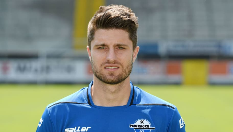 PADERBORN, GERMANY - JULY 03:  Moritz Stoppelkamp poses during the Second Bundesliga team presentation of SC Paderborn at the Benteler Arena on July 3, 2015 in Paderborn, Germany.  (Photo by Thomas Starke/Bongarts/Getty Images)