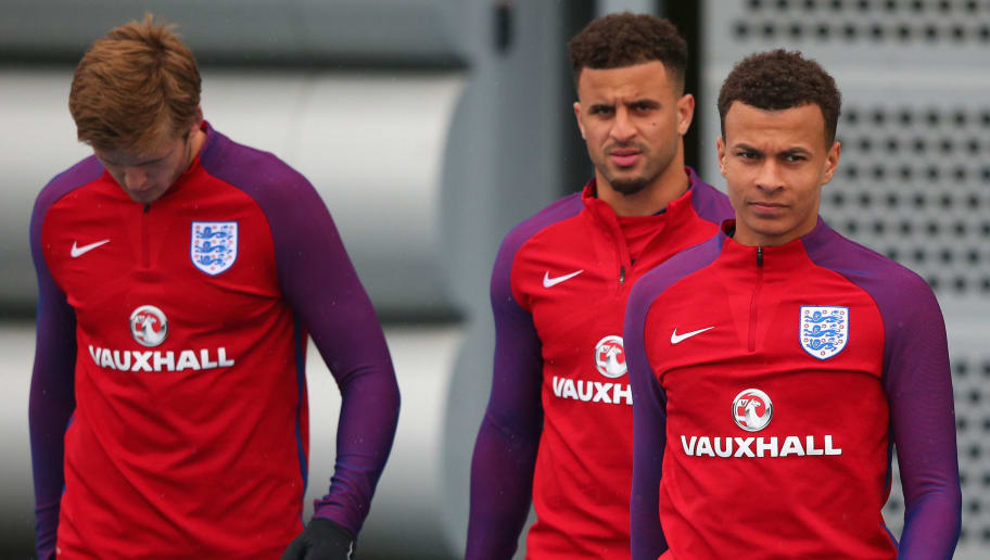 MANCHESTER, ENGLAND - MAY 25:  Dele Alli; Kyle Walker and Eric Dier walk out during the England training session at Manchester City Football Academy on May 25, 2016 in Manchester, England.  (Photo by Alex Livesey/Getty Images)