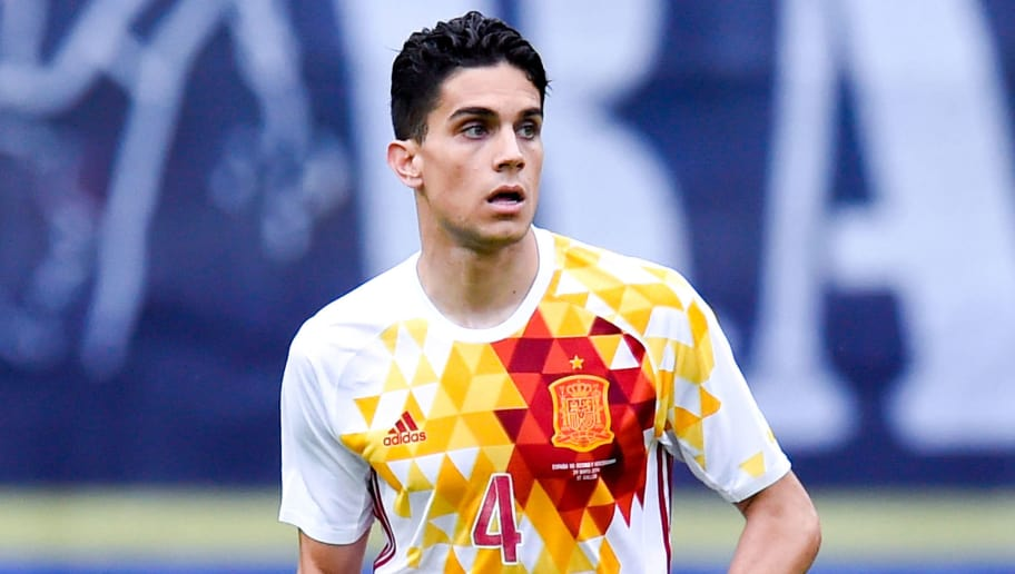 ST GALLEN, SWITZERLAND - MAY 29:  Marc Bartra of Spain runs with the ball during an international friendly match between Spain and Bosnia at the AFG Arena on May 29, 2016 in St Gallen, Switzerland.  (Photo by David Ramos/Getty Images)
