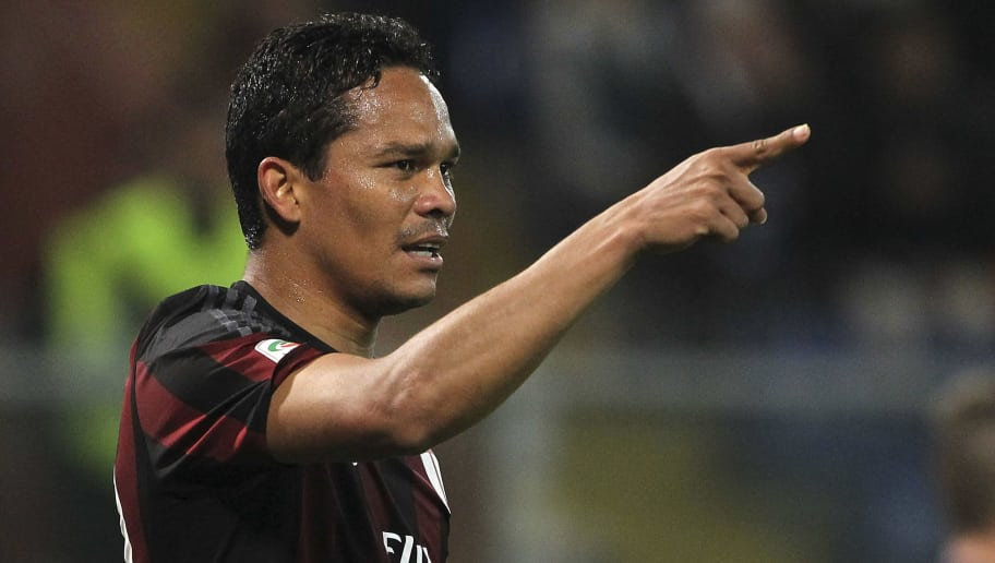 GENOA, ITALY - APRIL 17:  Carlos Bacca of AC Milan celebrates after scoring the opening goal during the Serie A match between UC Sampdoria and AC Milan at Stadio Luigi Ferraris on April 17, 2016 in Genoa, Italy.  (Photo by Marco Luzzani/Getty Images)