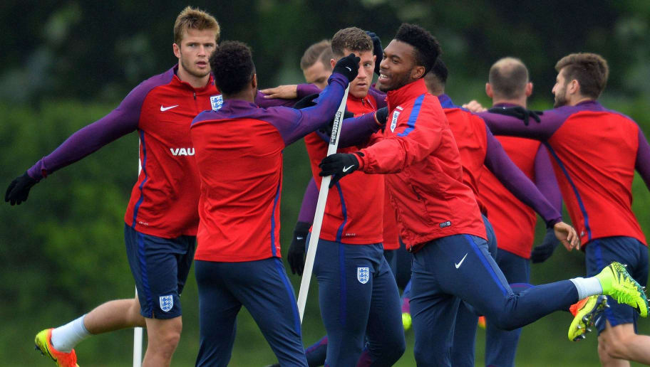 England's midfielder Eric Dier (L), England's midfielder Raheem Sterling (2L), England's midfielder Ross Barkley(C) and England's striker Daniel Sturridge (3R) take part in a team training session in Watford, north of London, on June 1, 2016. England are set to play Portugal in an international friendly football match at Wembley on June 2, ahead of Euro 2016. / AFP / GLYN KIRK / NOT FOR MARKETING OR ADVERTISING USE / RESTRICTED TO EDITORIAL USE         (Photo credit should read GLYN KIRK/AFP/Getty Images)