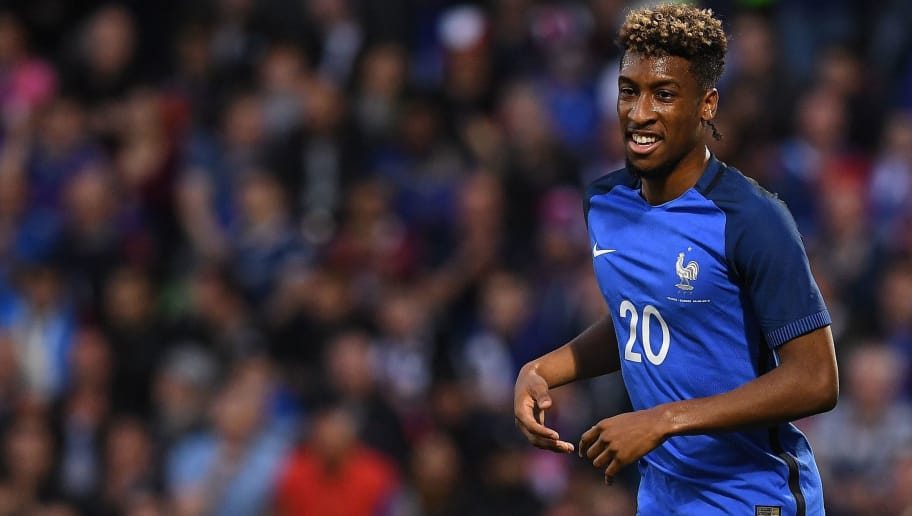France's forward Kingsley Coman smiles during the friendly football match between France and Scotland, at the St Symphorien Stadium in Longeville-lès-Metz, Eastern France, on June 4, 2016.  / AFP / FRANCK FIFE        (Photo credit should read FRANCK FIFE/AFP/Getty Images)
