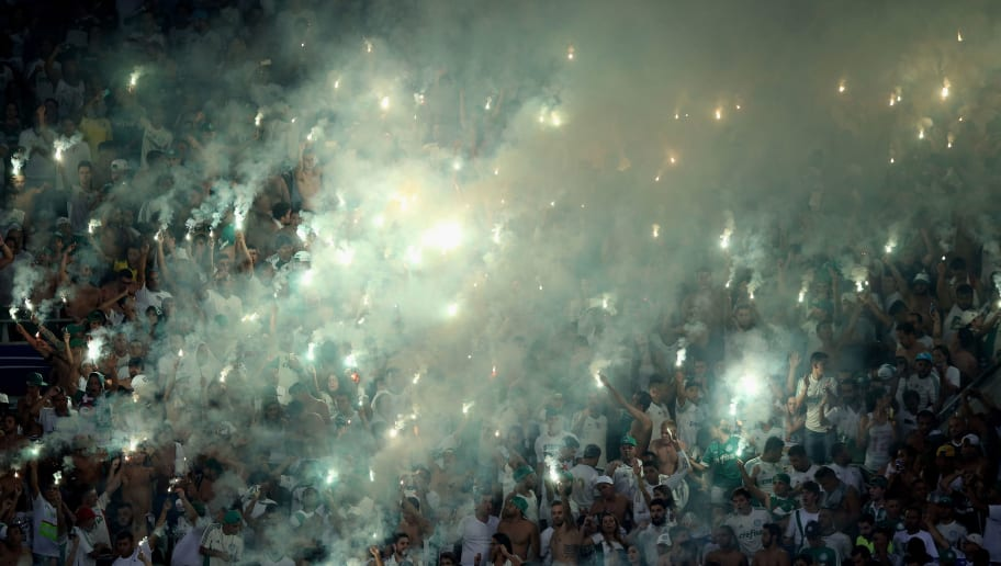 SAO PAULO, BRAZIL - APRIL 14:  Fans of Palmeiras celebrates during a match between Palmeiras and River Plate URU as part of Group 2 of Copa Bridgestone Libertadores at Allianz Parque on April 14, 2016 in Sao Paulo, Brazil.  (Photo by Friedemann Vogel/Getty Images)