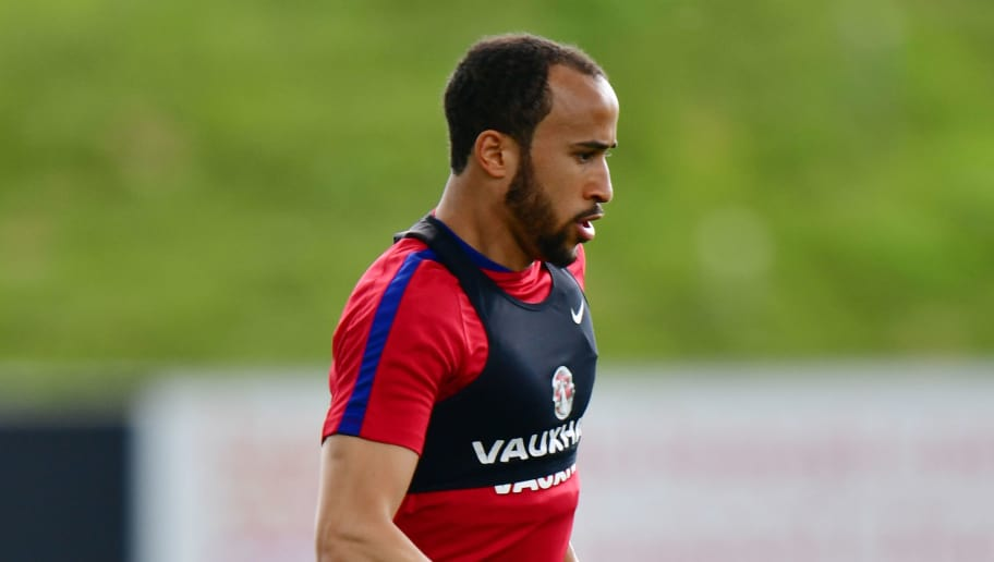 BURTON-UPON-TRENT, ENGLAND - MAY 18:  Andros Townsend in action during the England training session at St Georges Park on May 18, 2016 in Burton-upon-Trent, England.  (Photo by Dan Mullan/Getty Images)