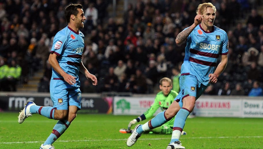 HULL, ENGLAND - NOVEMBER 05:  Jack Collison (R) of West Ham United celebrates scoring his side's second goal with team-mate Sam Baldock during the npower Championship match between Hull City and West Ham United at KC Stadium on November 5, 2011 in Hull, England.  (Photo by Chris Brunskill/Getty Images)