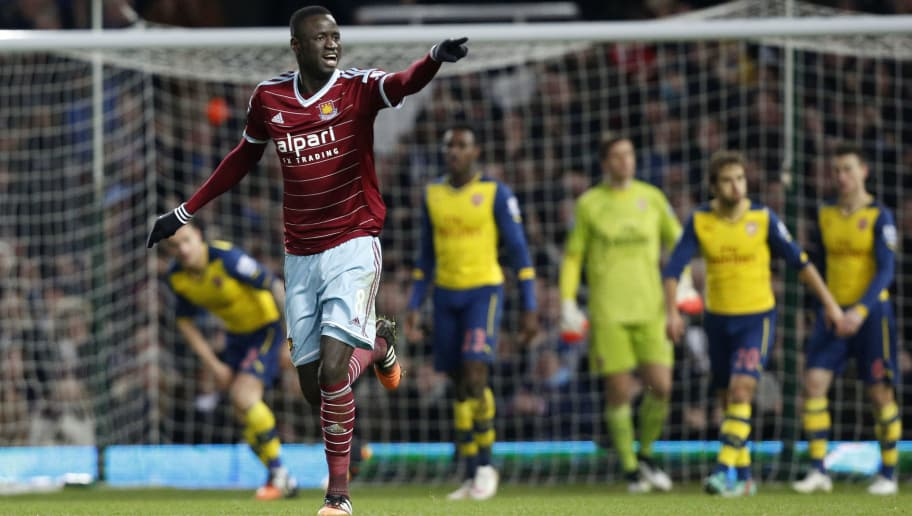 d0a8ed861 West Ham United s Senegalese midfielder Cheikhou Kouyate (L) celebrates  scoring their first goal during