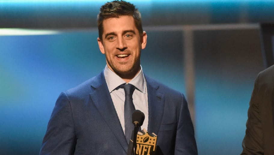 SAN FRANCISCO, CA - FEBRUARY 06: NFL players Aaron Rodgers (L) and Richard Rodgers accept the Bridgestone performance Play of the Year onstage during the 5th Annual NFL Honors at Bill Graham Civic Auditorium on February 6, 2016 in San Francisco, California.  (Photo by Tim Mosenfelder/Getty Images)