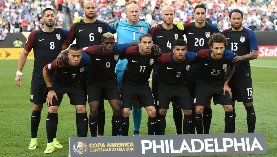 Players of the United States pose for pictures before the start of the Copa America Centenario football tournament match against Paraguay in Philadelphia, Pennsylvania, United States, on June 11, 2016.  (L-R, back row) Clint Dempsey, John Brooks, goalkeeper Brad Guzan, Michael Bradley, Geoff Cameron and Jermaine Jones, and (L-R, front row) Bobby Wood, Gyasi Zardes, Alejandro Bedoya, DeAndre Yedlin and Fabian Johnson. / AFP / Don EMMERT        (Photo credit should read DON EMMERT/AFP/Getty Images)