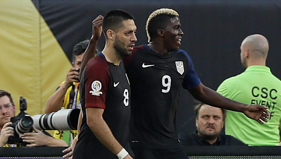 PHILADELPHIA, PA - JUNE 11:  Clint Dempsey #8 of United States celebrates his goal with teammate Gyasi Zerdes #9 in the first half against the Paraguay during the Copa America Centenario Group C match at Lincoln Financial Field on June 11, 2016 in Philadelphia, Pennsylvania.  (Photo by Elsa/Getty Images)