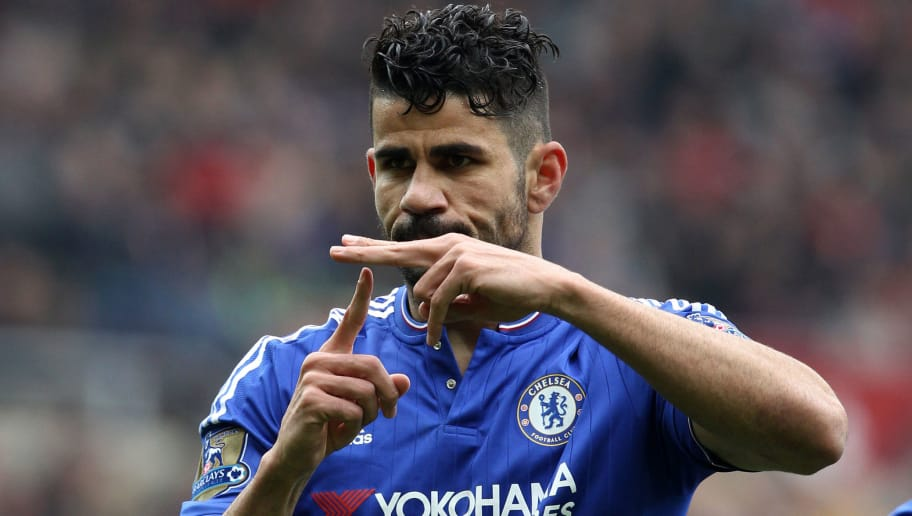 Chelsea's Brazilian-born Spanish striker Diego Costa celebrates scoring his team's first goal during the English Premier League football match between Sunderland and Chelsea at the Stadium of Light in Sunderland, northeast England on May 7, 2016. / AFP / LINDSEY PARNABY / RESTRICTED TO EDITORIAL USE. No use with unauthorized audio, video, data, fixture lists, club/league logos or 'live' services. Online in-match use limited to 75 images, no video emulation. No use in betting, games or single club/league/player publications.  /         (Photo credit should read LINDSEY PARNABY/AFP/Getty Images)