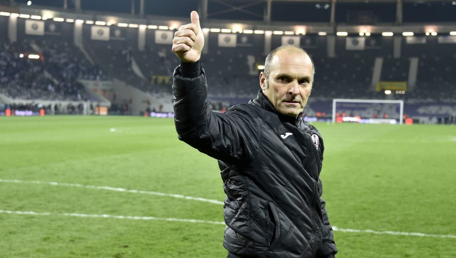 Toulouse's French head coach Pascal Dupraz celebrates his team's victory at the end of the French L1 football match Bordeaux on March 12, 2016 at the Municipal Stadium in Toulouse.  AFP PHOTO/ PASCAL PAVANI / AFP / PASCAL PAVANI        (Photo credit should read PASCAL PAVANI/AFP/Getty Images)
