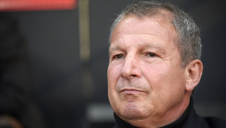 Rennes' French coach Rolland Courbis attends the French L1 football match between Stade Rennais FC and SC Bastia at the Roazhon Park stadium in Rennes, northwestern France,  on May 14, 2016.  AFP PHOTO / DAMIEN MEYER / AFP / DAMIEN MEYER        (Photo credit should read DAMIEN MEYER/AFP/Getty Images)