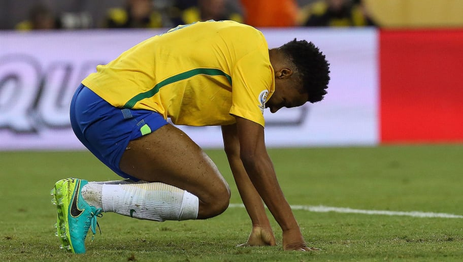 FOXBORO, MA - JUNE 12: Elias #8 of Brazil reacts after Pedro Gallese #1 of Peru made a save on his shot in the closing moments in the second half during the 2016 Copa America Centenario Group B match against Brazil at Gillette Stadium on June 12, 2016 in Foxboro, Massachusetts. Brazil lost the match, 1-0. (Photo by Jim Rogash/Getty Images)