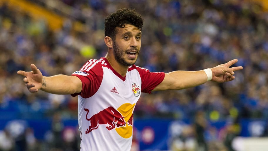 MONTREAL, QC - MARCH 12:  Felipe Martins #8 of the New York Red Bulls reacts during the MLS game against the Montreal Impact at the Olympic Stadium on March 12, 2016 in Montreal, Quebec, Canada.  The Montreal Impact defeated the New York Red Bulls 3-0.  (Photo by Minas Panagiotakis/Getty Images)