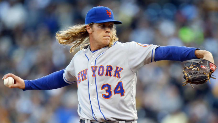 PITTSBURGH, PA - JUNE 08:  Noah Syndergaard #34 of the New York Mets pitches in the second inning during the game against the Pittsburgh Pirates at PNC Park on June 8, 2016 in Pittsburgh, Pennsylvania.  (Photo by Justin K. Aller/Getty Images)