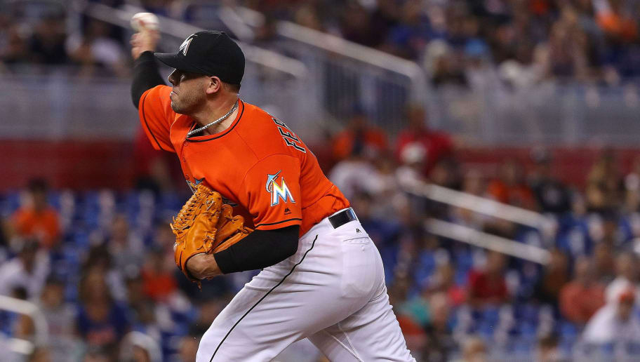 MIAMI, FL - JUNE 05:  Jose Fernandez #16 of the Miami Marlins pitches during a game against the New York Mets at Marlins Park on June 5, 2016 in Miami, Florida.  (Photo by Mike Ehrmann/Getty Images)